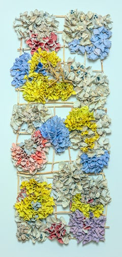 """Yellow Lattice"", Contemporary Mixed Media Wall Sculpture with Hand Made Paper"