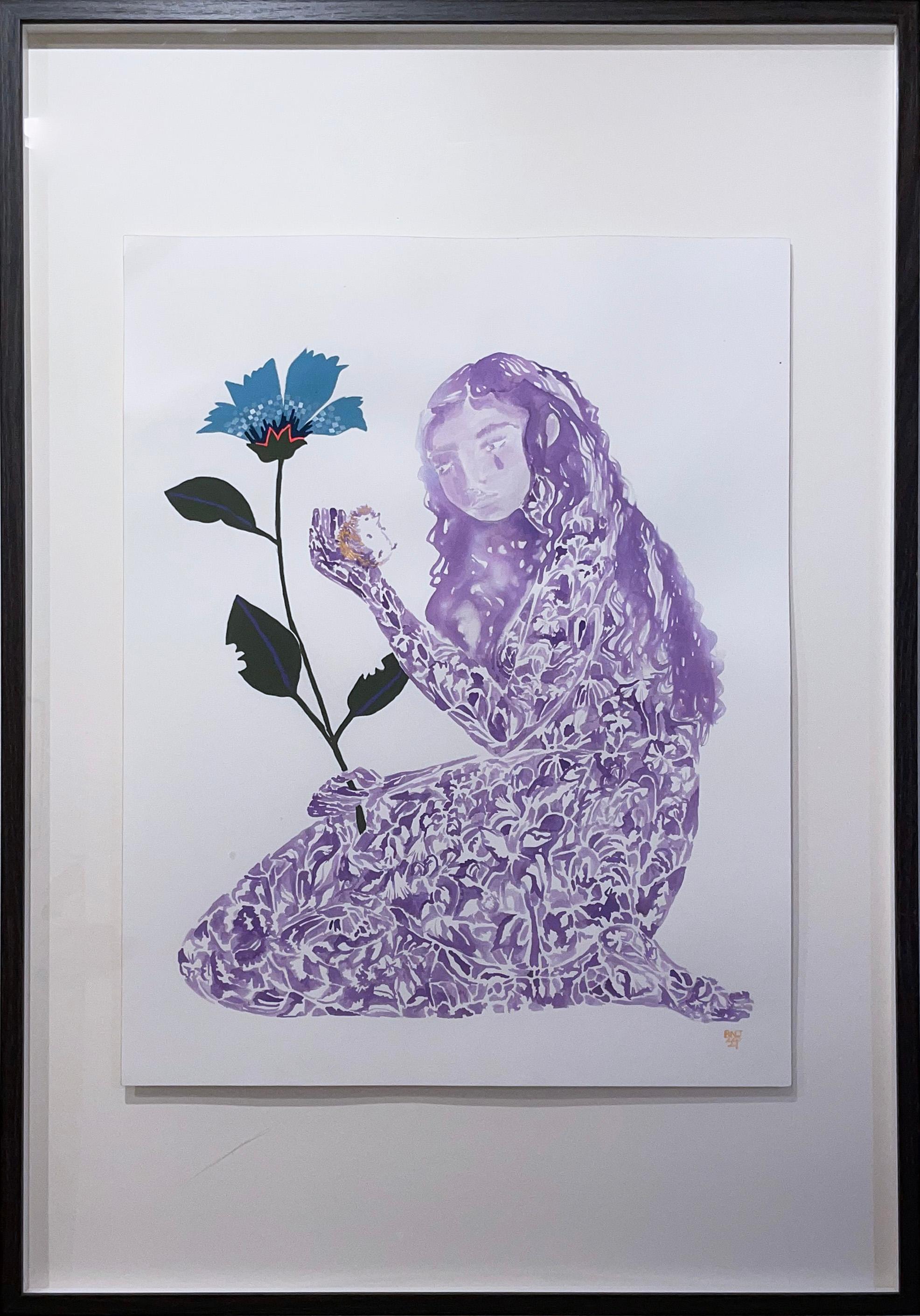 Bittersweet, 2021, female figure, flower, plant, purple, blue, folk art style