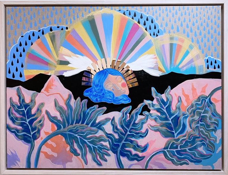 Rebecca Johnson Figurative Painting - Mood Indigo, 2020, blue, pink, acrylic, lime wash on linen, floral, figurative
