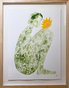 Ossages, 2021, female figure, sun flower, earth tones, yellow & deep green
