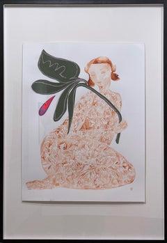 September Sun, 2021, female figure, flower, plant, sienna, green, folk art style