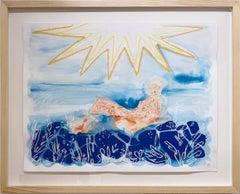Sunbath, 2021, seascape, female figure, swimmer, ocean, sun, blue, yellow, gold