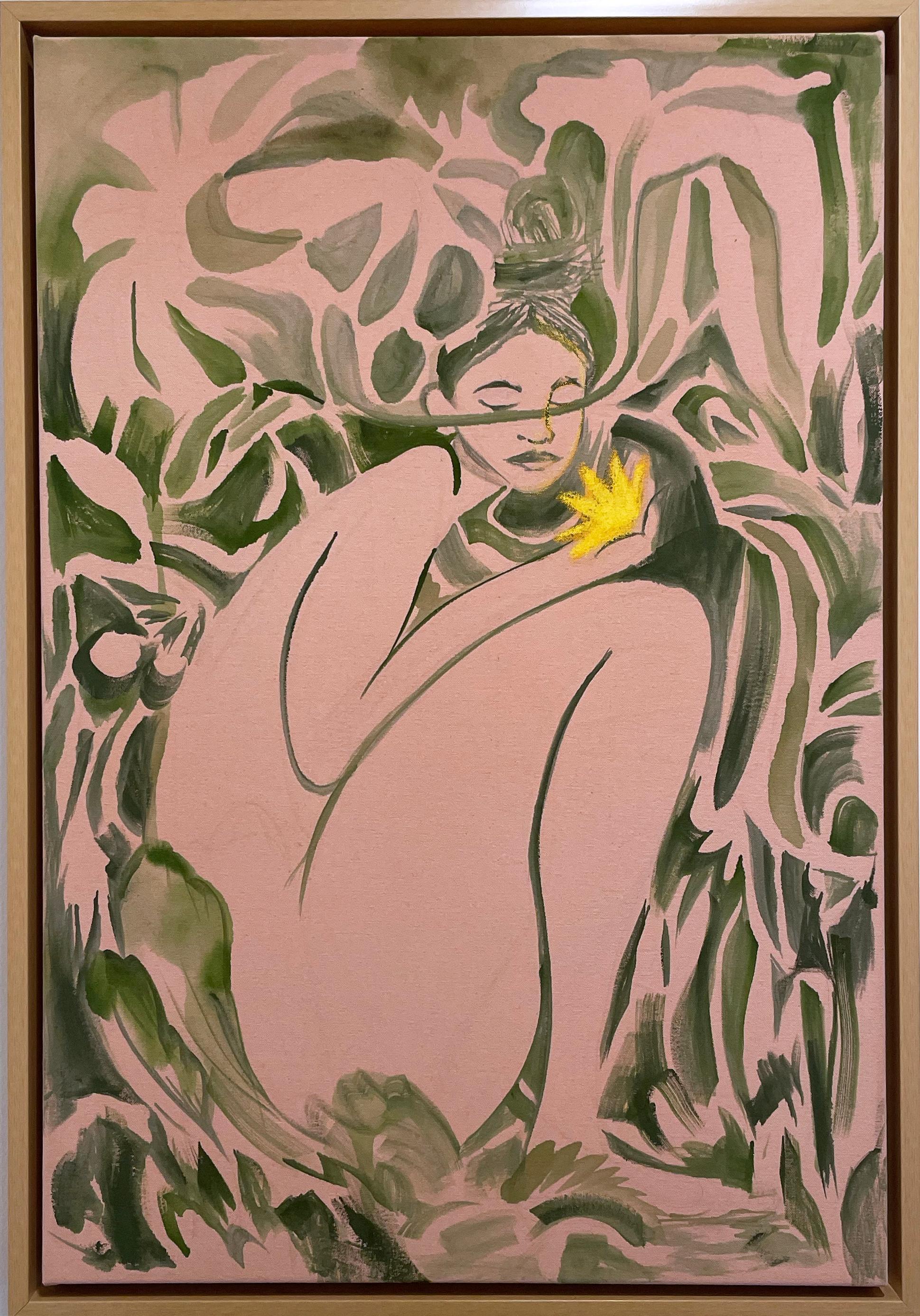 Where the Flowers Grow, 2021, nude female figure, plants, foliage, earth tones