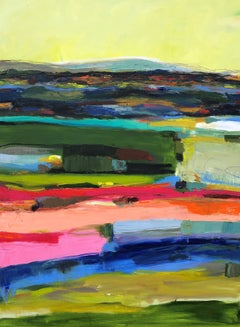 Abenaki Twilight over Blue Mountains, Abstract Oil Painting