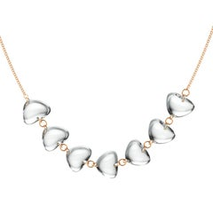 Rebecca Li 18K Rose Gold Contemporary Necklace with Natural Rock Crystal