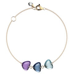 Rebecca Li Crystal Link Bracelet, 18 Karat Gold with Blue Topaz and Amethyst