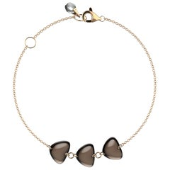 Rebecca Li Crystal Link Bracelet, 18 Karat Gold with Smoky Quartz and Crystal