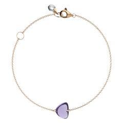 Rebecca Li Crystal Link Bracelet, 18 Karat Rose Gold with Amethyst and Crystal