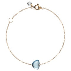Rebecca Li Crystal Link Bracelet, 18 Karat Rose Gold with Blue Topaz and Crystal