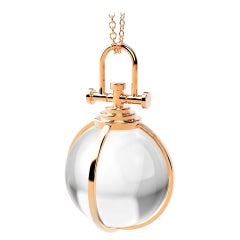Rebecca Li Crystal Orb Talisman Pendant 18 Karat Gold with Rock Crystal