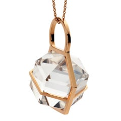 Rebecca Li Six Senses Talisman Necklace 18 Karat Gold Large Natural Rock Crystal