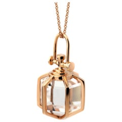 Rebecca Li Six Senses Talisman Necklace, 18k Gold Large Natural Rock Crystal