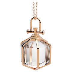 Rebecca Li Six Senses Talisman Necklace 18k Rose Gold Large Natural Rock Crystal