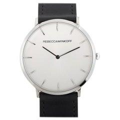 Rebecca Minkoff Major Silver-Tone Black Strap Watch 2200011