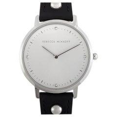 Rebecca Minkoff Major Silver-Tone Black Strap Watch 2200320