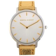 Rebecca Minkoff Major Silver-Tone Gold Leather Strap Watch 2200390