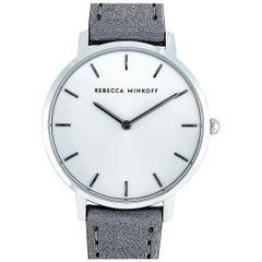 Rebecca Minkoff Major Silver-Tone Gray Leather Strap Watch 2200366