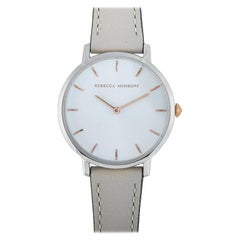 Rebecca Minkoff Major Stainless Steel Gray Leather Strap Watch 2200238