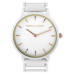 Rebecca Minkoff Major White Matte Paint Stainless Steel Bracelet Watch 2200395