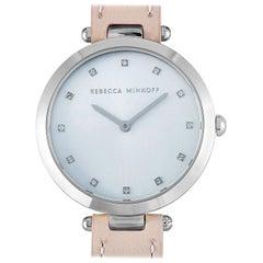 Rebecca Minkoff Nina Silver-Tone Blush Leather Strap Watch 2200398