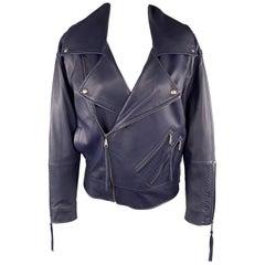 REBECCA MINKOFF Size XS Navy Leather Lamb Skin Biker Jacket