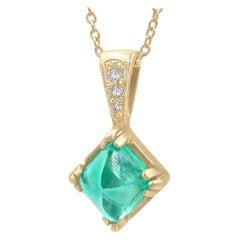 Rebecca Overmann Vintage Natural Sugarloaf Emerald White Diamond Gold Necklace