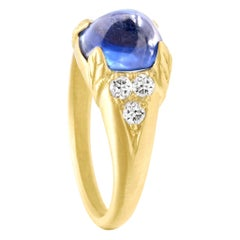 Rebecca Overmann Vintage Unheated Natural 4.32ct Blue Sapphire Sugarloaf Ring