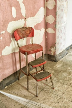 """""""Absent"""", color photograph, abandoned, metal print, vintage, chair, red, pink"""