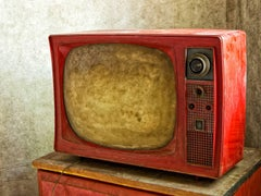 """Aged #2"", Rebecca Skinner, photograph, television, vintage, metal print, red"