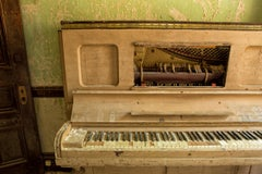 """""""Circumstance"""", color photograph, metal print, piano, abandoned, peach, green"""