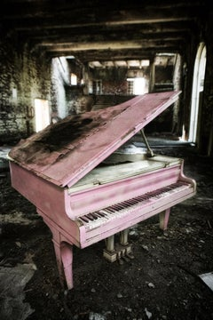 """""""Concluded"""", color photograph, abandoned, piano, metal print, pink, music"""