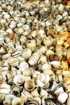 """""""Crowded"""", color photo, metal print, abandoned, china, factory, cups, industry"""