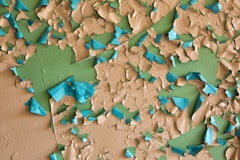 """Crumbling"", color photograph, abstract, peeling paint, green, blue, peach"