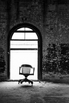 """""""Dancing Chair"""", photograph, black and white, abandoned, factory, industrial"""