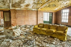 """""""Discarded"""", color photograph, abandoned, industrial, couch, metal print, yellow"""