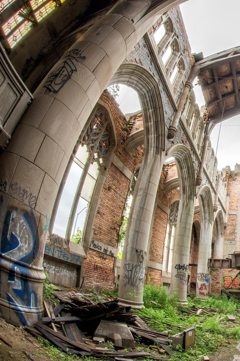"Rebecca Skinner's ""Divine"" is a 24 x 36 inch metal print of an abandoned church. The color photograph has a satin finish and is infused directly into metal making it waterproof and easy to clean. The frameless print hangs easily with a float mount"