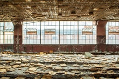 """Domino Room"", color photo, abandoned, factory, industrial, windows, brown"