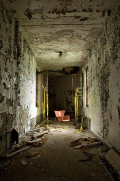 """Empty"", color photo, abandoned hospital, hallway, chair, metal print, orange"