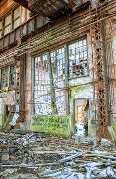 """Endure"", color photograph, abandoned, industrial, metal print, blue, green"