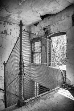 """""""Escape"""", photograph, abandoned, black and white, fence, interior, metal print"""