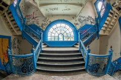 """""""Faded Footsteps"""", color photograph, abandoned school, stairs, metal print, blue"""