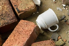"""""""Fallen"""", metal print, color photo, abandoned, factory, cup, brick, white, red"""