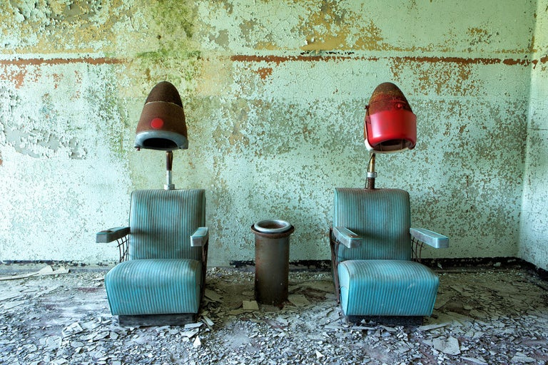 """Rebecca Skinner Color Photograph - """"Gossip"""", abandoned salon, print on aluminum, ready to hang, blue, green"""