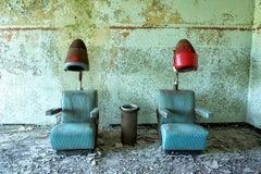 """Gossip"", color photograph, abandoned salon, metal print, vintage, blue, green"