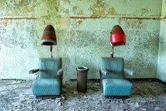"""Gossip"", Rebecca Skinner, abandoned salon, metal print, vintage, blue, green"