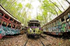 """Graffiti Yard"", color photo, abandoned, trolley, landscape, rusty, metal print"