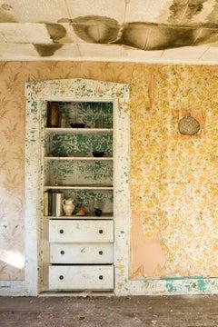 """Home"", color photograph, abandoned, metal print, yellows, whites, vintage"