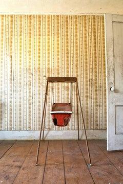 """Hush"", swing, metal print, color photograph, vintage, red"