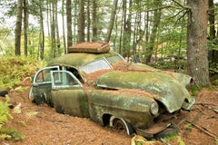 """Incapacitated"", color photograph, antique car, landscape, metal print, green"