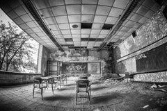 """Krispy"", photo, abandoned school, metal print, black and white, Gary, Indiana"